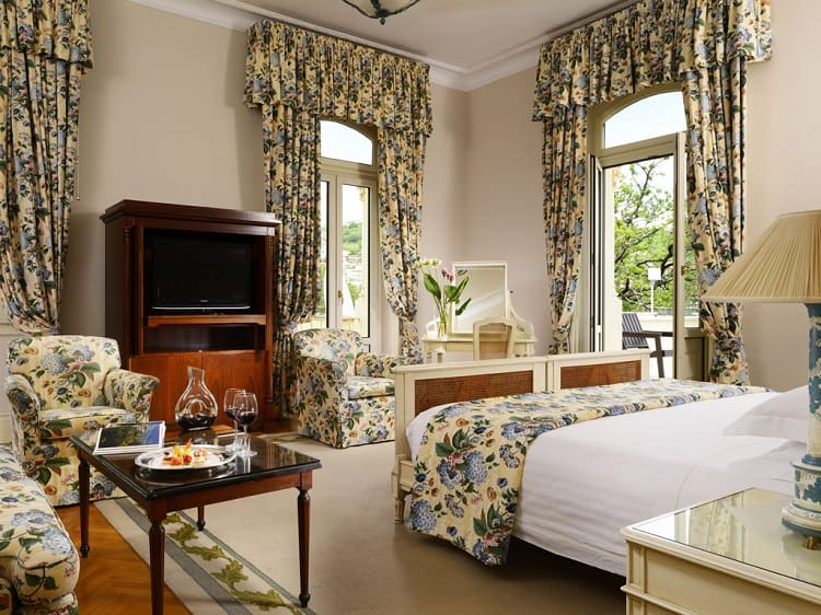 Luxurious hotel room at Grand Hotel Palazzo Dellla Fonte
