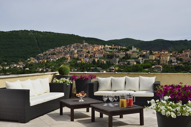 Outdoor seating with a view in Italy